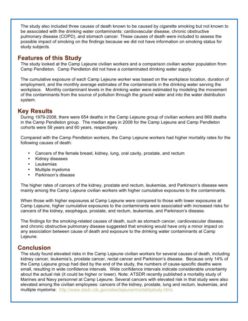 Camp Lejeune Civilian Mortality Study - ATSDR CDC Press Release