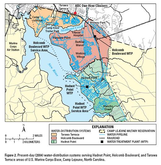 Civilian Exposure US Medicine article Lejeune map