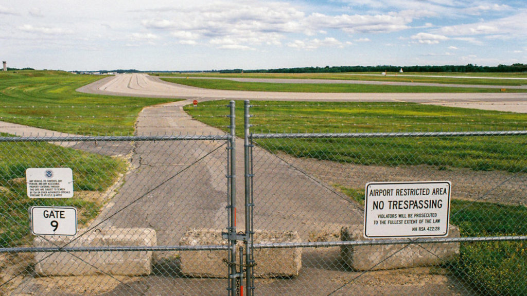 Civilian Exposure - Firefighting foam was used on the air strip at the former Pease Air Force Base in Portsmouth, N.H. Today, the air strip is used by a commercial airline and the Air National Guard. (Adrienne St. Clair/News21)